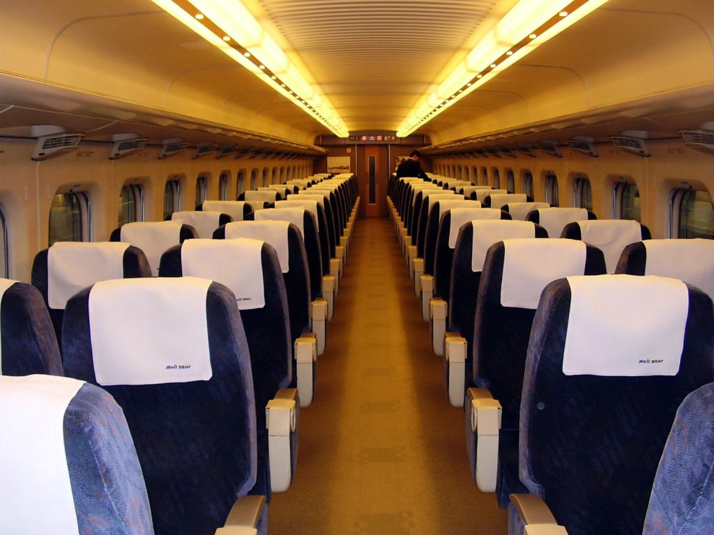 Shinkansen - wnętrze wagonu