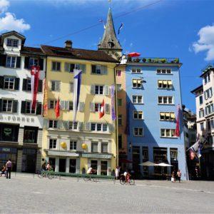 Lucerna. Kamienice w historycznej części miasta